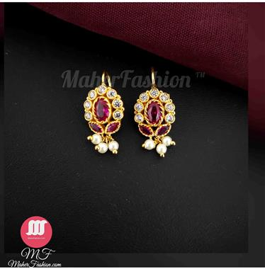 Pink color Designer stylish Traditionla Earrings Bugadi for Women/Girls - Maher Fashion(Fashiontrends)