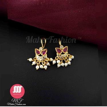 Designer Stunning Gold Finish Moti Styled Fancy Bugadi Earrings - Maher Fashion(Fashiontrends)