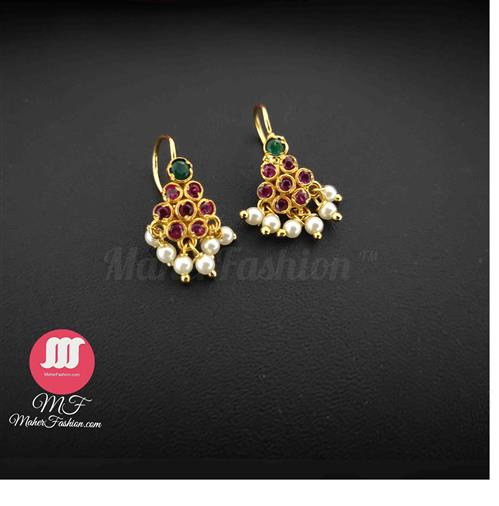 Pink Colour Gold Finish Diamond Bugadi Earring - Maher Fashion(Fashiontrends)