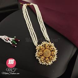 Round Peacock Pendant Tanmani set_maherFashion_Mumbai - Maher Fashion(Fashiontrends)