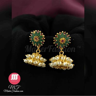 Designer Green Color Premium Quality  Pearl Jhumka _Online _MaherFashion_Mumbai - Maher Fashion(Fashiontrends)
