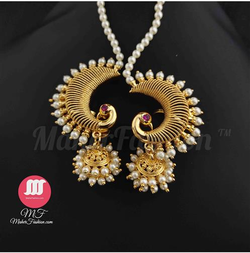 Peacock Design Ear Cuff With Pearl MaherFashion_Online _Mumbai - Maher Fashion(Fashiontrends)