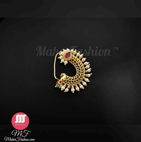 Pink Colour Gold Finish Nath _Online _MaherFashion_Mumbai - Maher Fashion(Fashiontrends)
