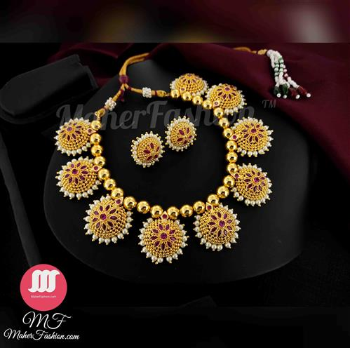 Premium Quality  Floral Designer Necklace With Earrings _Online _MaherFashion_Mumbai - Maher Fashion(Fashiontrends)