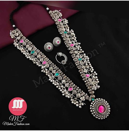 Oxidise kolhapuri saaj With Nath Combo Set buy online MaherFashion_Mumbai - Maher Fashion(Fashiontrends)