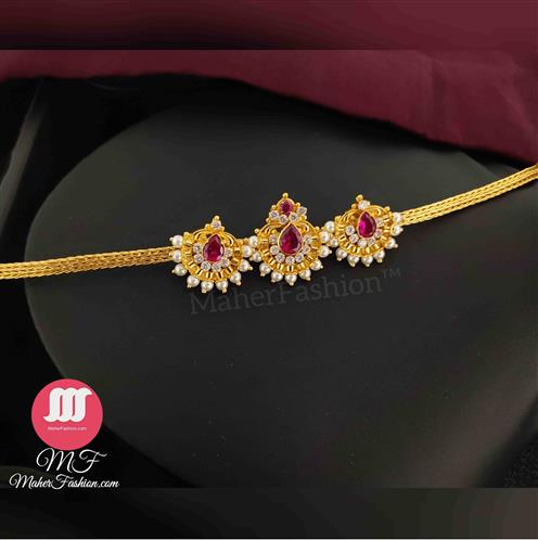 Red Stone Simple Gold Finish Hand _Online _MaherFashion_Mumbai - Maher Fashion(Fashiontrends)