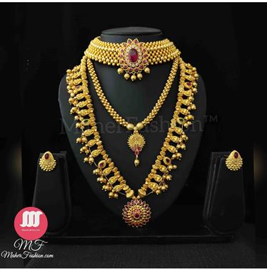 BRIDAL Golden  COMBO SET Online_Maherfashion(Mumbai) - Maher Fashion(Fashiontrends)