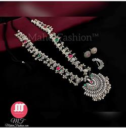 Half Moon Oxidise  design Kolhapuri Saaj With Nath And Earrings_Online _MaherFashion_Mumbai - Maher Fashion(Fashiontrends)