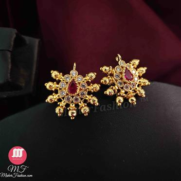 Pink and white Stone Studs ( golden beds) _Online _MaherFashion_Mumbai - Maher Fashion(Fashiontrends)