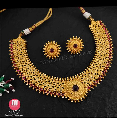 Matt Traditional Golden Necklace Design_MaherFashion_Order Now. - Maher Fashion(Fashiontrends)