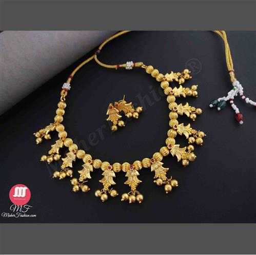 Traditional Kolhapuri  Golden Necklace_MaherFashion_Order Now. - Maher Fashion(Fashiontrends)