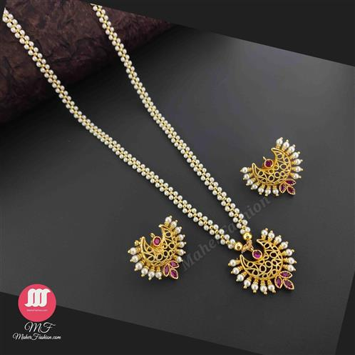 Golden Pearl Necklace with Earings MaherFashion - Maher Fashion(Fashiontrends)