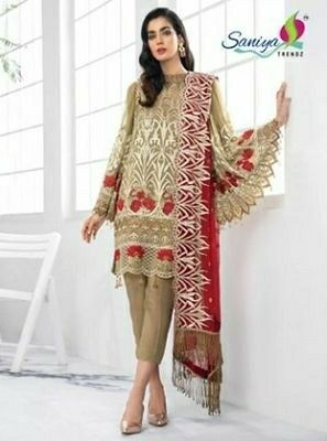Beautiful Embroidered Work Georgette Suit - LeZaa