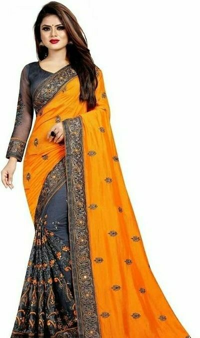 Bollywood Designer Embroidered Saree - LeZaa