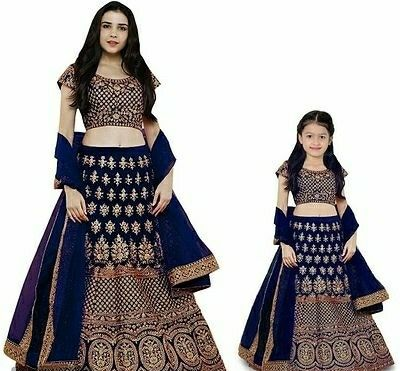 Mother Daughter Combo Embroidered Lehenga Choli - LeZaa