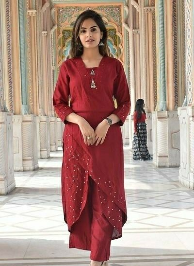 Party Wear Rayon Kurta Palazzo Set - LeZaa