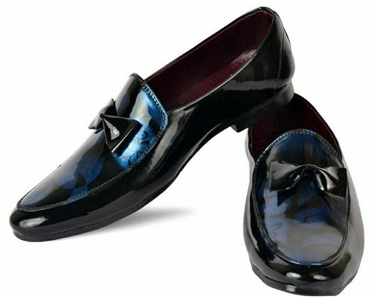 Party Wear Navy Blue Synthetic Suede Formal Shoe For Men - LeZaa