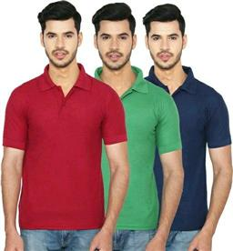 Solid Men Polo Neck Multicolour T-shirt(Pack Of 3) - LeZaa