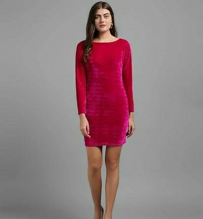 Women Plain Valvet Short Dress - LeZaa