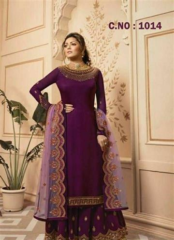 Women's Beautiful Satin Georgette With Heavy Embroidery Work Dress Material - LeZaa