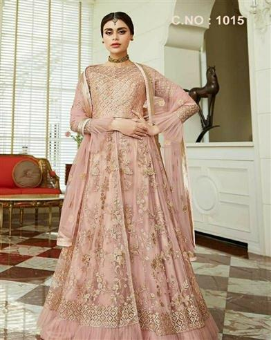 Women's Beautiful Net with Embroidery Work Dress Material - LeZaa