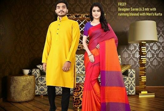 Combo Pack Of Men's Kurta & Women's Saree - LeZaa