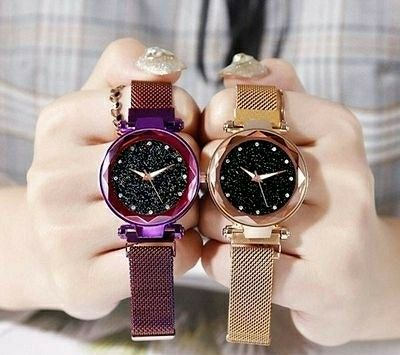 Beautiful and Stylish Magnetic Strap Analog Watch for Women's (Pack of 2)  - LeZaa