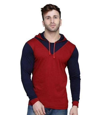 Trending Colourblocked Cotton Blend Hooded T Shirt - LeZaa