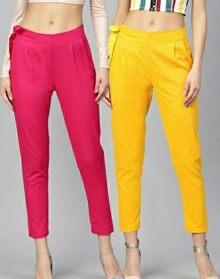 Women's Cotton Blend Solid Trouser Combo - LeZaa