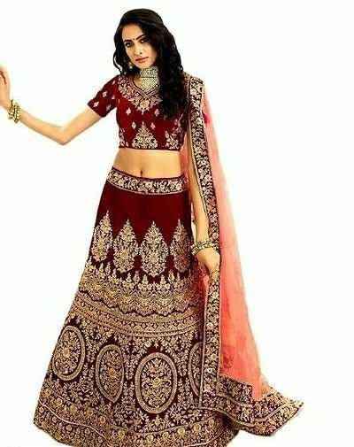 Women's Satin Silk Embroidered Lehenga Choli Set   - LeZaa