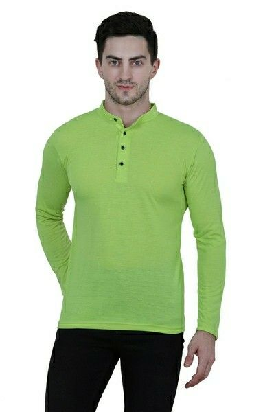 Cotton Blend Solid Full Sleeves T-shirt - LeZaa