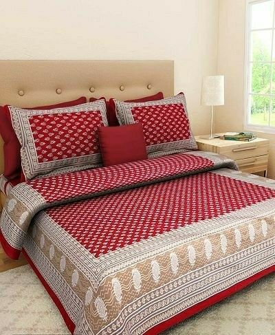 100% Pure Cotton Traditional Print Bedsheet - LeZaa