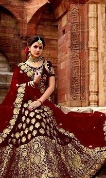 Attractive Velvet Embroidered Lehenga Choli - LeZaa