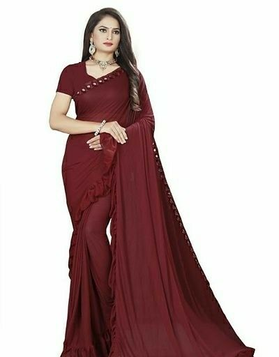 Art Silk Ruffle Sarees with Blouse Piece - LeZaa