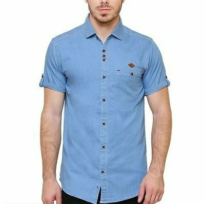 Men's Denim Tailored Fit Casual Shirt - LeZaa