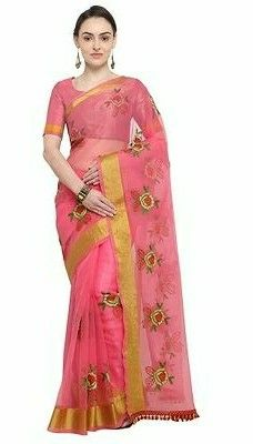 Best Selling Floral Embroidered Cotton Saree - LeZaa