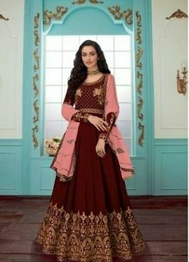 Faux Georgette Dress Material With Dupatta - LeZaa