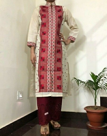 Khadi Cotton Embroidered Kurti Palazzo Set - LeZaa