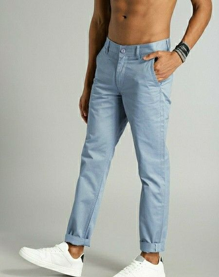 Cotton Solid Slim Fit Casual Chinos - LeZaa