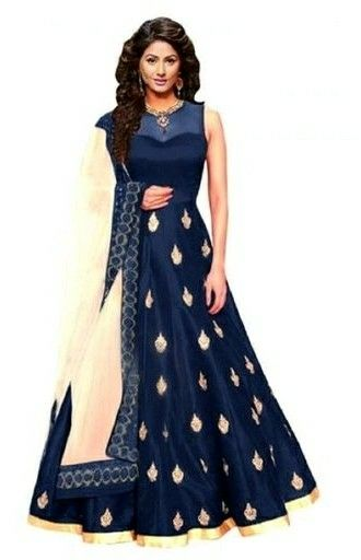 Embroidered Banglory Silk Flared Gown - LeZaa
