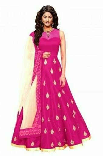 Embroidered Banglory Silk Flared Gown - LeZaa Fashion
