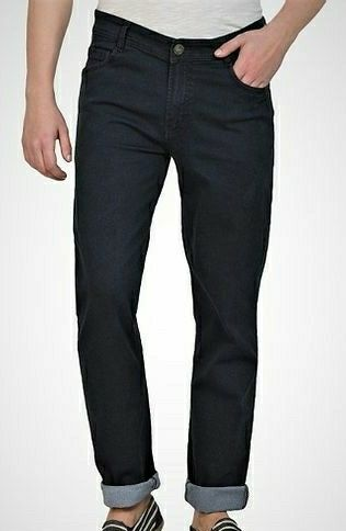 Men's Solid Mid-Rise Regular Fit Jeans - LeZaa Fashion