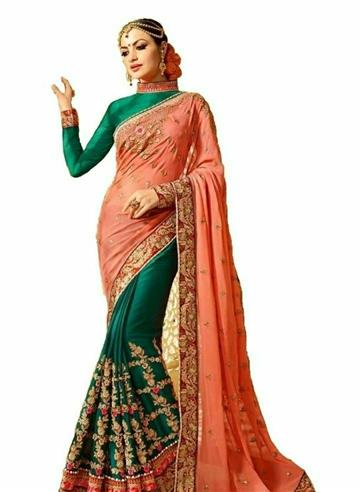 Women's Green Georgette Embroidered Bollywood Saree with Blouse piece - LeZaa