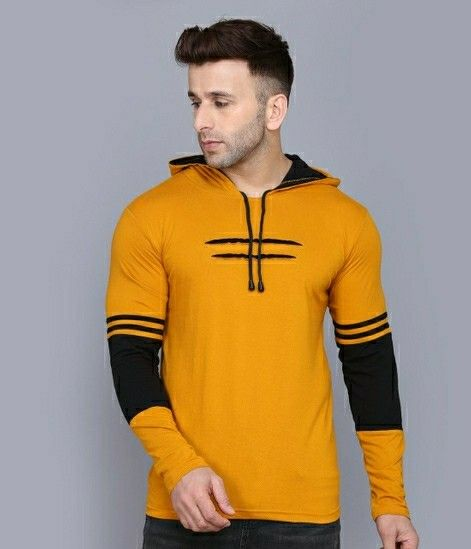 Cotton Solid Full Sleeves Hooded T-shirts - LeZaa