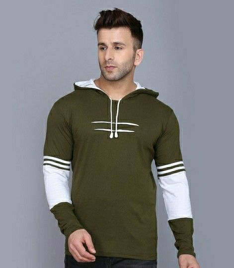 Cotton Solid Full Sleeves Hooded T-shirts - LeZaa Fashion