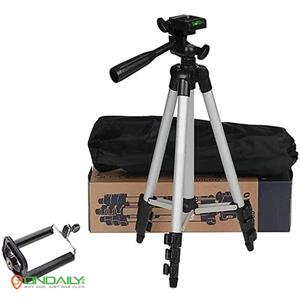 Tripod Stand with 3-Way Head 3110 Portable and Foldable with Mobile Clip Holder Bracket - Ondaily.in