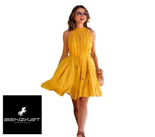 Women's Solid Yellow Crepe Fit And Flare Dress  Benzkart - BENZKART